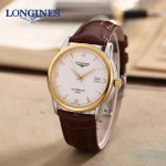 LONGINES-0102 全新復古間金系列三針設計原裝全自動機械腕錶