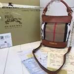 Burberry-0203-01 專櫃時尚新款原版牛皮配粗麻大格紋肩背包