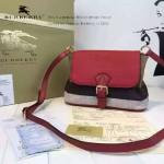 Burberry-0225-01 專櫃時尚新款原版牛皮配粗麻大格紋休閑時尚斜挎包
