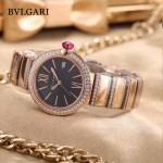 Bvlgari-98-9 最新女士LVCEA系列玫瑰金配黑底藍寶石鏡面瑞士石英腕錶