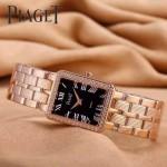 Piaget-026-9 時尚女士鑽石系列玫瑰金配黑色珍珠貝母面進口石英腕錶