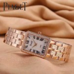 Piaget-026-10 時尚女士鑽石系列玫瑰金配白色珍珠貝母面進口石英腕錶