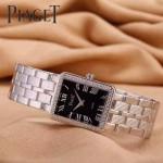 Piaget-026-14 時尚女士鑽石系列閃亮銀配黑色珍珠貝母面進口石英腕錶