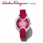 Ferragamo-004 高貴奢華Signature紅色玫瑰花瓣蛇皮錶帶原裝瑞士石英腕錶