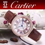 CARTIER-311-4 時尚百搭土豪金配褐色礦物質強化鏡面進口石英腕錶