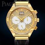 Piaget-027-2 新款男士POLO系列土豪金滿天星藍寶石鏡面瑞士9100機械腕錶