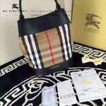 Burberry-0202 時尚新款原版牛皮與棉布內設小包手提斜跨水桶包