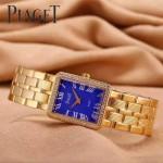 Piaget-026-3 時尚女士鑽石系列土豪金配藍色珍珠貝母面進口石英腕錶