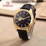 OMEGA-178-10 商務男士鏤空設計土豪金配黑底316精鋼錶殼全自動機械腕錶