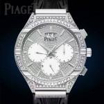 Piaget-027 新款男士POLO系列閃亮銀滿天星藍寶石鏡面瑞士9100機械腕錶