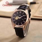 OMEGA-178-3 商務男士鏤空設計玫瑰金配黑底316精鋼錶殼全自動機械腕錶