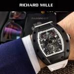 Richard Mille-83-5 時尚爆款白色膠帶款立體飛輪面原裝8215自動機械腕錶