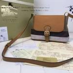 Burberry-0225 專櫃時尚新款原版牛皮配粗麻大格紋休閑時尚斜挎包