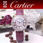 CARTIER-311-3 時尚百搭土豪金配紫色礦物質強化鏡面進口石英腕錶