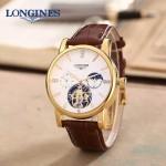 LONGINES-0101-14 商務男士土豪金多功能飛輪設計原裝全自動機械腕錶
