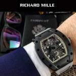 Richard Mille-83 時尚爆款灰色膠帶款立體飛輪面原裝8215自動機械腕錶