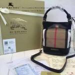 Burberry-0203 專櫃時尚新款原版牛皮配粗麻大格紋肩背包