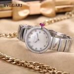 Bvlgari-98-4 最新女士LVCEA系列閃亮銀配白底藍寶石鏡面瑞士石英腕錶