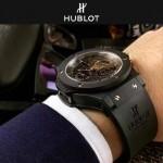 HUBLOT-040-6 潮流休閒男士玫瑰金硅膠錶帶款進口石英腕錶