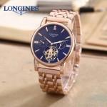 LONGINES-0101-8 商務男士玫瑰金多功能飛輪設計原裝全自動機械腕錶
