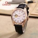 OMEGA-178 商務男士鏤空設計玫瑰金配白底316精鋼錶殼全自動機械腕錶