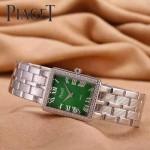 Piaget-026-15 時尚女士鑽石系列閃亮銀配綠色珍珠貝母面進口石英腕錶