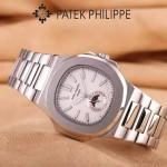 PATEK PHILIPPE-0149-8 時尚男士鸚鵡系列閃亮銀配白底礦物質玻璃進口石英腕錶