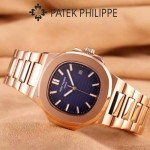 PATEK PHILIPPE-0149-3 時尚男士鸚鵡系列土豪金配藍底礦物質玻璃進口石英腕錶