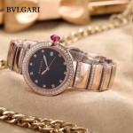 Bvlgari-98-7 最新女士LVCEA系列玫瑰金配黑底藍寶石鏡面瑞士石英腕錶