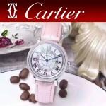 CARTIER-311 時尚百搭閃亮銀配粉色礦物質鏡面進口石英腕錶