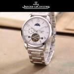 JAEGER-050-5 時尚男士大師系列白色閃亮銀三針設計全自動機械腕錶