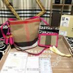 Burberry-0200 專櫃時尚新款原單黃麻配原版進口荔枝紋牛皮水桶包