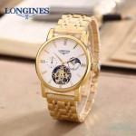 LONGINES-0101-4 商務男士土豪金多功能飛輪設計原裝全自動機械腕錶