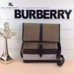 BURBERRY-0221-01 專櫃時尚新款原版粗麻布料配進口牛皮男性斜挎包