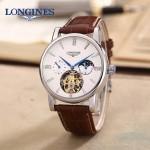 LONGINES-0101-3 商務男士閃亮銀多功能飛輪設計原裝全自動機械腕錶