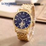 LONGINES-0101-6 商務男士土豪金多功能飛輪設計原裝全自動機械腕錶