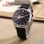 OMEGA-178-2 商務男士鏤空設計閃亮銀配黑底316精鋼錶殼全自動機械腕錶