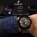 HUBLOT-040 潮流休閒男士綠色迷彩設計帆布錶帶進口石英腕錶