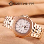 PATEK PHILIPPE-0149-10 時尚男士鸚鵡系列土豪金配白底礦物質玻璃進口石英腕錶