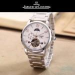 JAEGER-050-4 時尚男士大師系列白色閃亮銀三針設計全自動機械腕錶