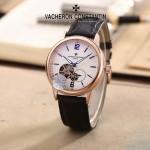 VC-0301-6 簡約男士土豪金白底兩針半飛輪設計全自動機械腕錶