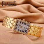 Piaget-026-5 時尚女士鑽石系列土豪金配白色珍珠貝母面進口石英腕錶