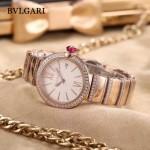 Bvlgari-98-11 最新女士LVCEA系列玫瑰金配白底藍寶石鏡面瑞士石英腕錶