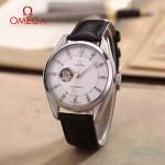 OMEGA-178-5 商務男士鏤空設計閃亮銀配白底316精鋼錶殼全自動機械腕錶