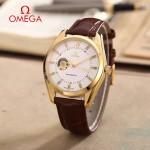 OMEGA-178-9 商務男士鏤空設計土豪金配白底316精鋼錶殼全自動機械腕錶