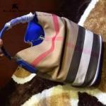 Burberry-0223-04 潮流時尚款來自星星的妳千頌依同款可拆式皮質斜背帶水桶包