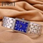 Piaget-026-12 時尚女士鑽石系列閃亮銀配藍色珍珠貝母面進口石英腕錶