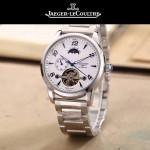 JAEGER-050-7 時尚男士大師系列白色閃亮銀三針設計全自動機械腕錶