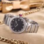 Bvlgari-98 最新女士LVCEA系列閃亮銀配黑底藍寶石鏡面瑞士石英腕錶
