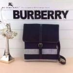 BURBERRY-0221 專櫃時尚新款原版粗麻布料配進口牛皮男性斜挎包